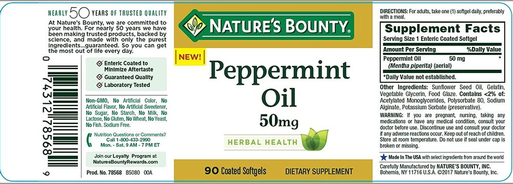 Nature's Bounty Peppermint Oil Pills and Herbal Health Supplement, Naturally Calming Dietary and Bowel Support, 50mg, 90 Softgels