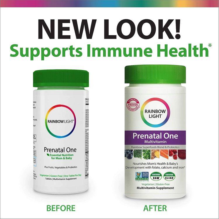 Rainbow Light Prenatal One Prenatal Vitamins + Superfoods, Probiotics, Non-GMO, Vegetarian & Gluten Free, Clinically Proven Absorption of Vitamin D, B2, B5, folate, calcium, iron & zinc, 90 Tablets