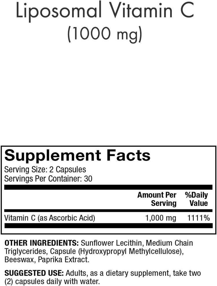 Dr. Mercola, Liposomal Vitamin C Dietary Supplement, 30 Servings (60 Capsules), Non GMO, Soy Free, Gluten Free