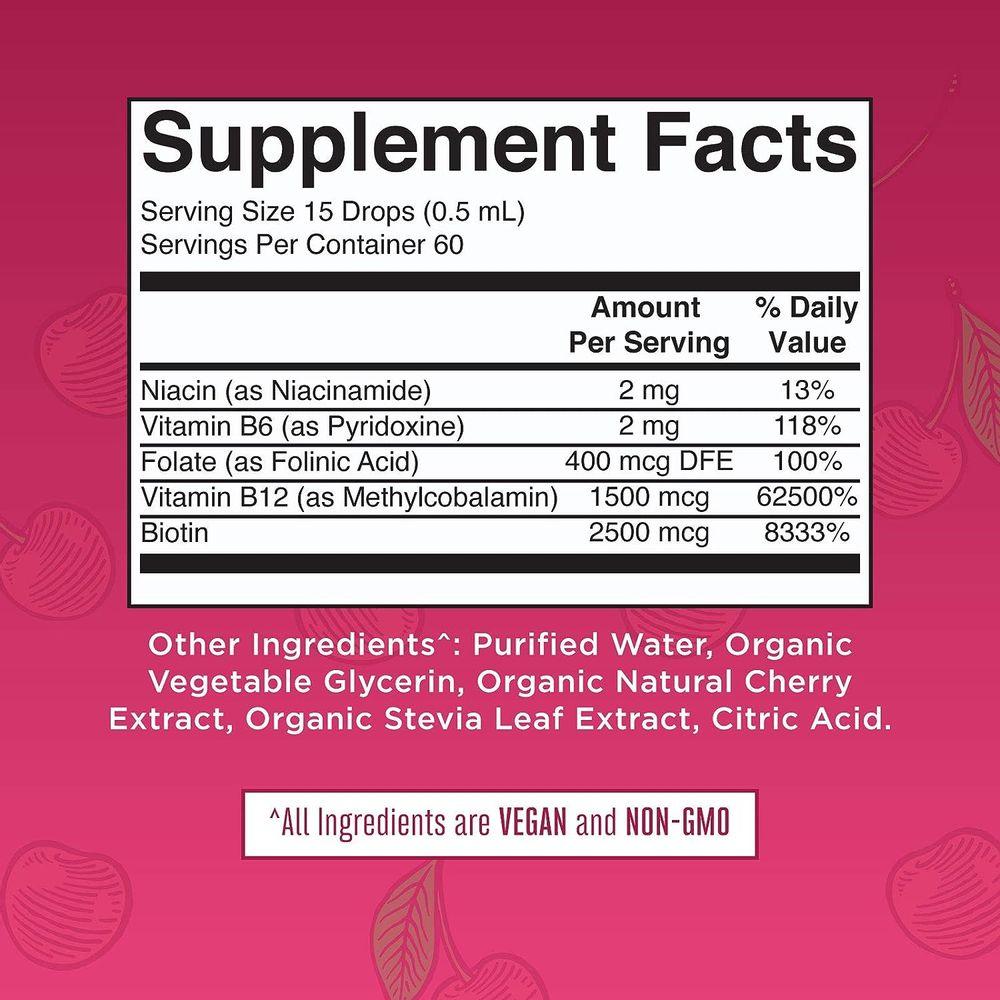 Vegan Vitamin B Complex Liquid by MaryRuth's - Hair Skin Nails Energy - Methyl B12 Folate Biotin Niacin Vitamin B3, 6, 7, 9, 12 - Tart Cherry - Glass 1oz