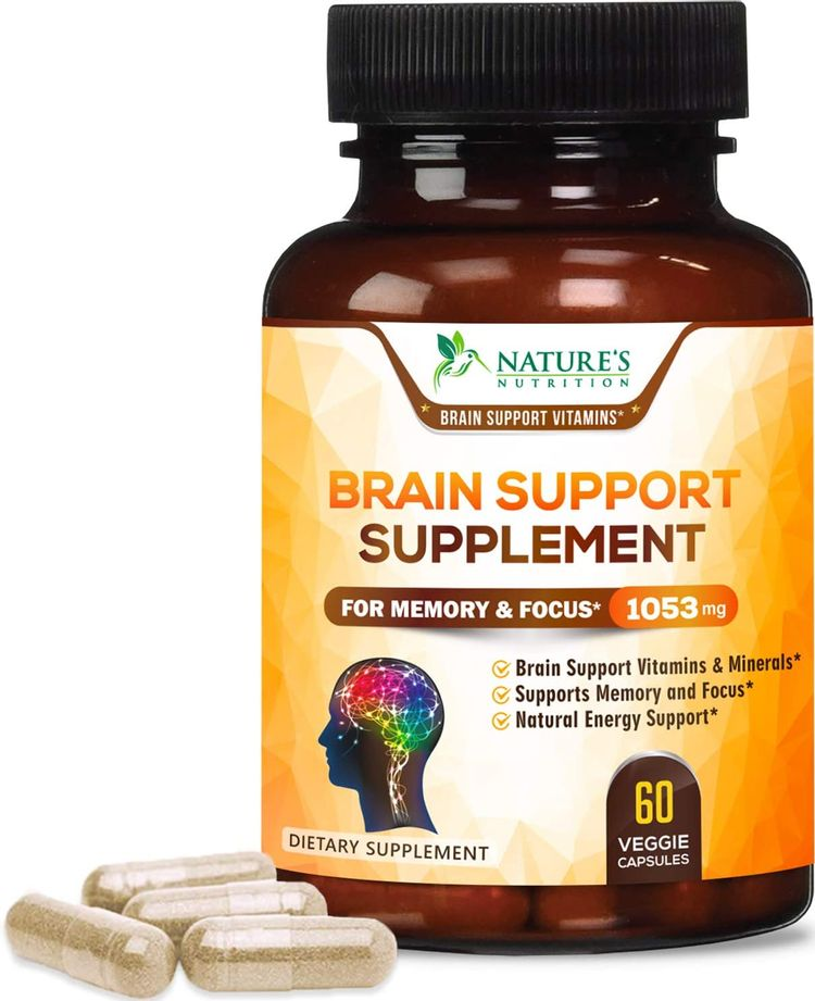 Brain Supplement, High Potency Nootropic 1000mg - Memory Pills to Support Clarity, Made in USA, Best Natural Mental Performance & Brain Support - 60 Capsules