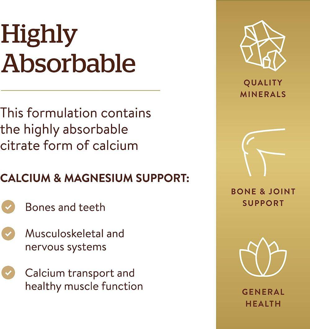 Solgar – Calcium Magnesium Citrate, 250 Tablets