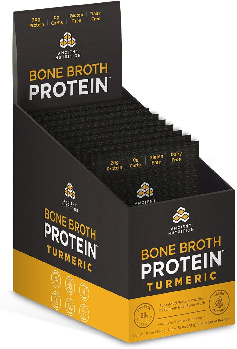 Ancient Nutrition Bone Broth Protein Powder, Chocolate Flavor, 15 Single Packets