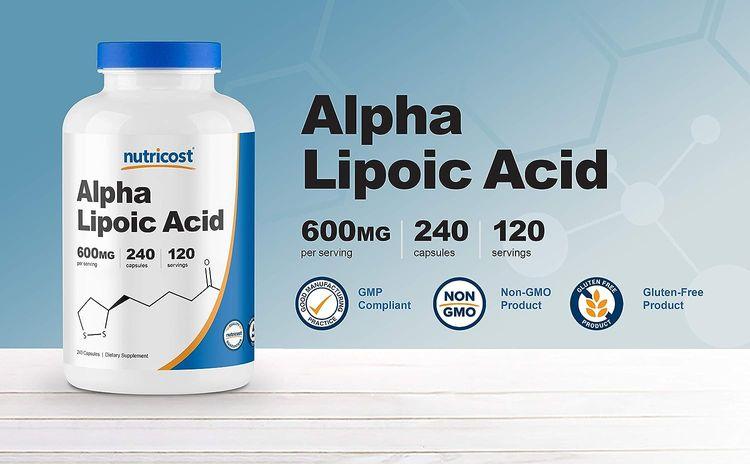 Nutricost Alpha Lipoic Acid - 600mg Serving 240 Caps, (2 Bottles)