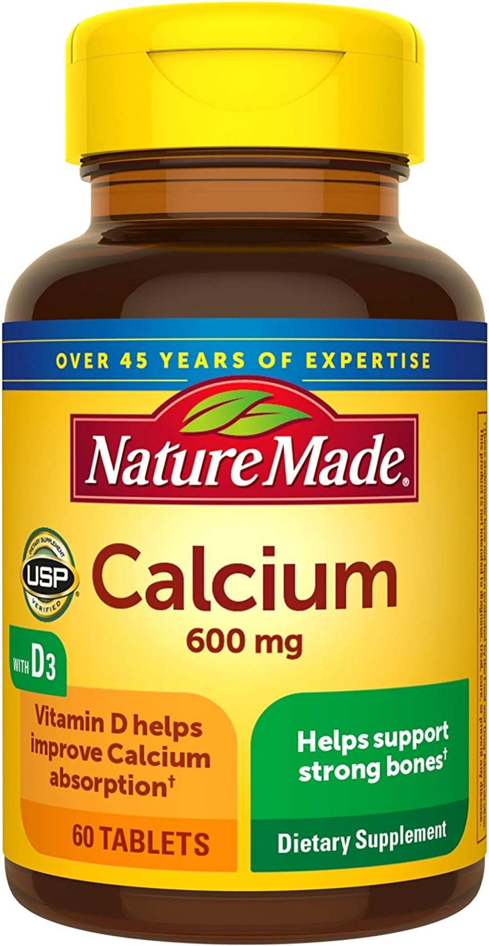 Nature Made Calcium 600 mg Tablets with Vitamin D3, 60 Count for Bone Health†