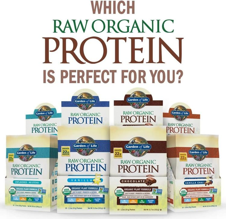 Garden of Life Raw Organic Protein Chocolate Powder Packets, 10ct Tray - Certified Vegan, Gluten Free, Organic, Non-GMO, Plant Based Sugar Free Shake with Probiotics & Enzymes, 4g BCAAs, 22g Protein