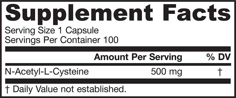 Jarrow Formulas N-A-C (N-Acetyl-L-Cysteine), Supports Liver & Lung Function, 500 mg, 100 Caps