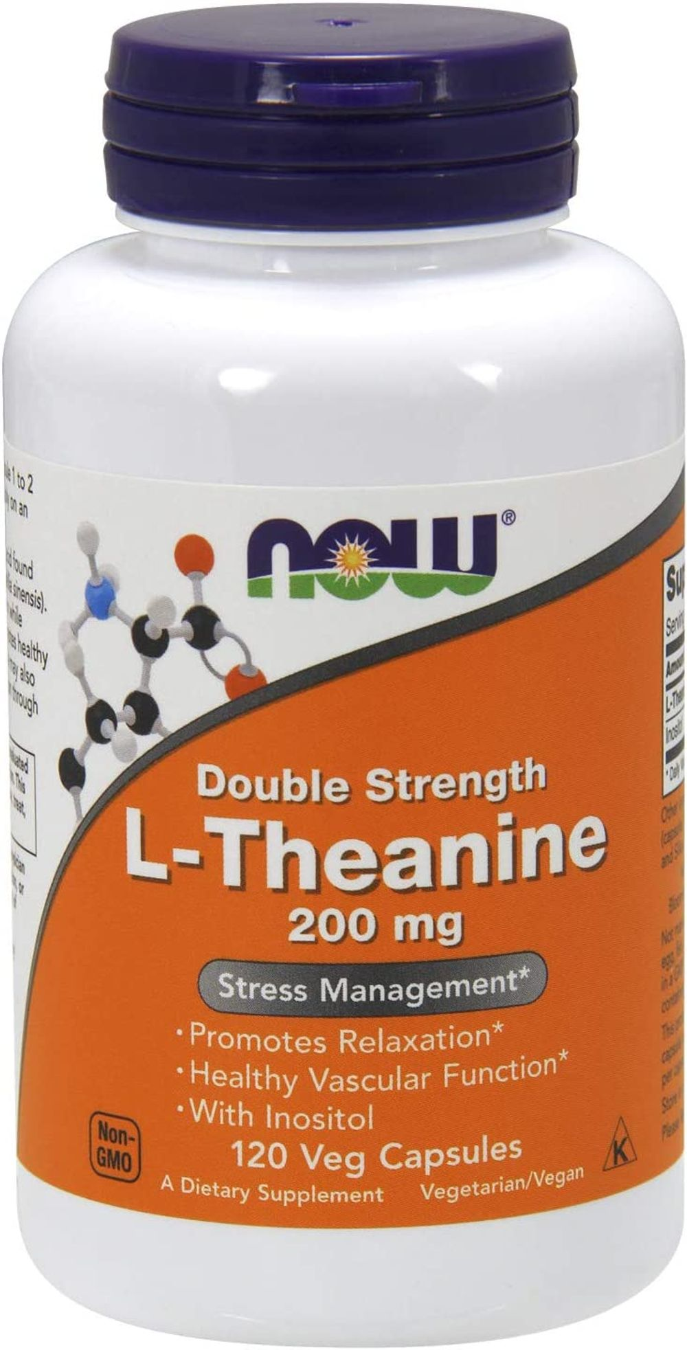 NOW Supplements, L-Theanine 200 mg with Inositol, Stress Management*, 120 Veg Capsules