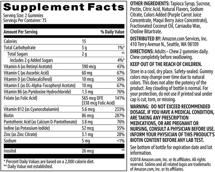 Brand - Solimo Adult Multivitamin, 150 Gummies, 75-Day Supply