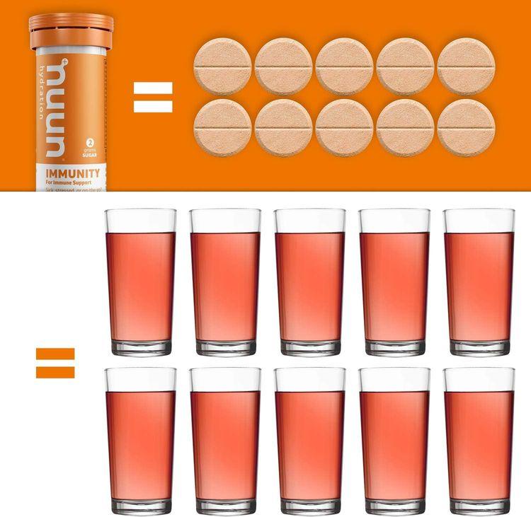Nuun Immunity: Immune Support Hydration Supplement, Electrolytes, Antioxidants, Vitamin C, Zinc, Turmeric, Elderberry, Ginger, Echinacea - Blueberry Tangerine + Orange Citrus - 2 Tubes (20 Servings)