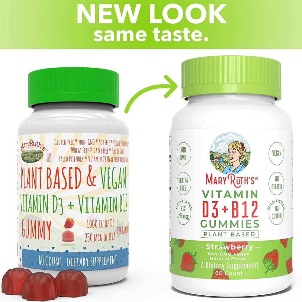 Vegan Vitamin D3+B12 Gummy (Plant-Based Gummies) by MaryRuth's - Made w/Organic Ingredients Non-GMO Vegan Paleo Gluten Free for Men, Women & Kids 1000 IU Vitamin D3 & 250 mcg Vitamin B12 60 Count