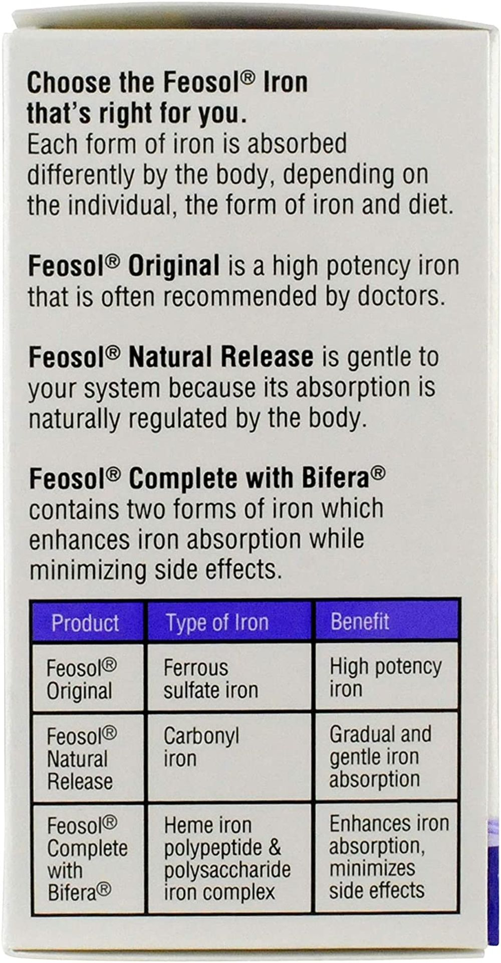 Feosol Complete with Patented Bifera Iron Caplets, 30ct