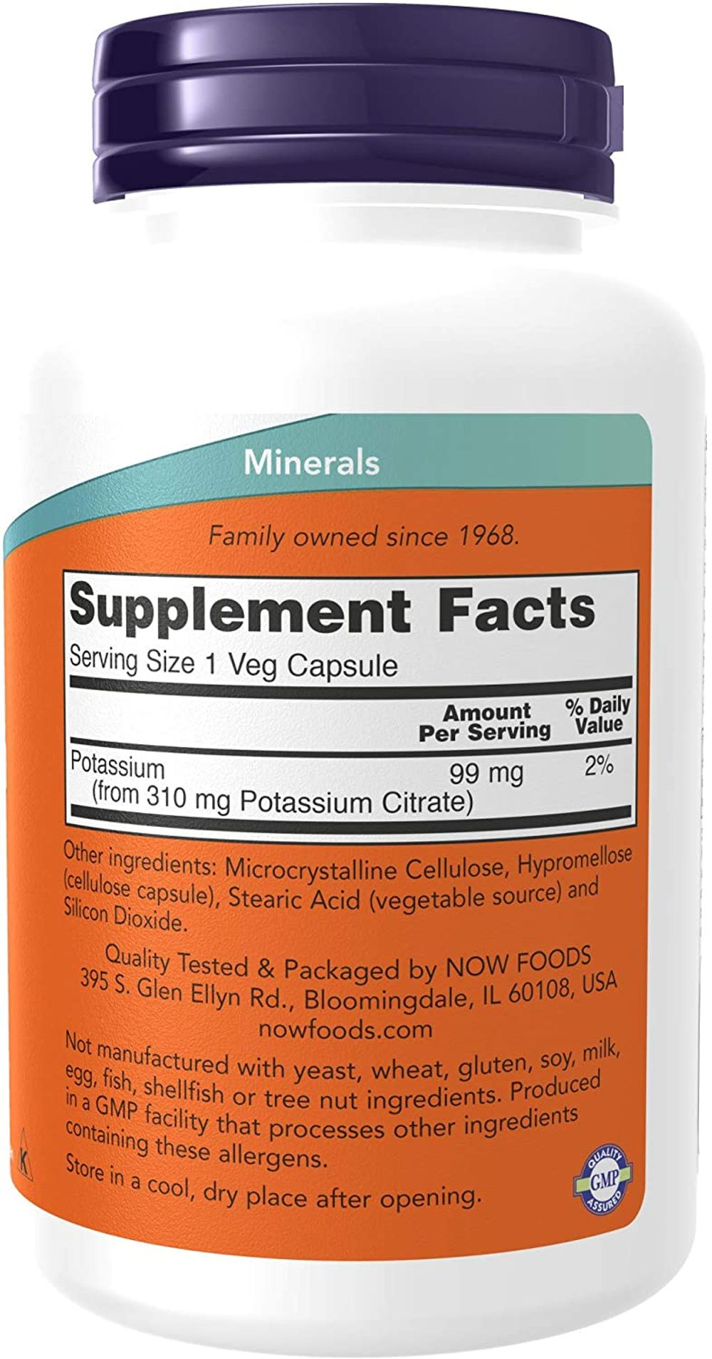 NOW Supplements, Potassium Citrate 99 mg, Supports Electrolyte Balance and Normal pH*, Essential Mineral, 180 Veg Capsules