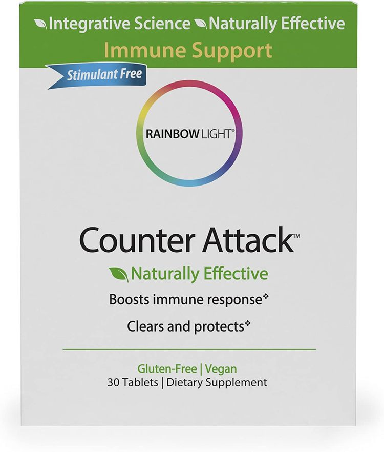 Rainbow Light - Counter Attack - Vitamin C and Zinc Supplement; Vegan and Gluten-Free; Herbal Blend Provides Immune Support, Boosts Immune System Health and Response - 30 Tablet Blister Box