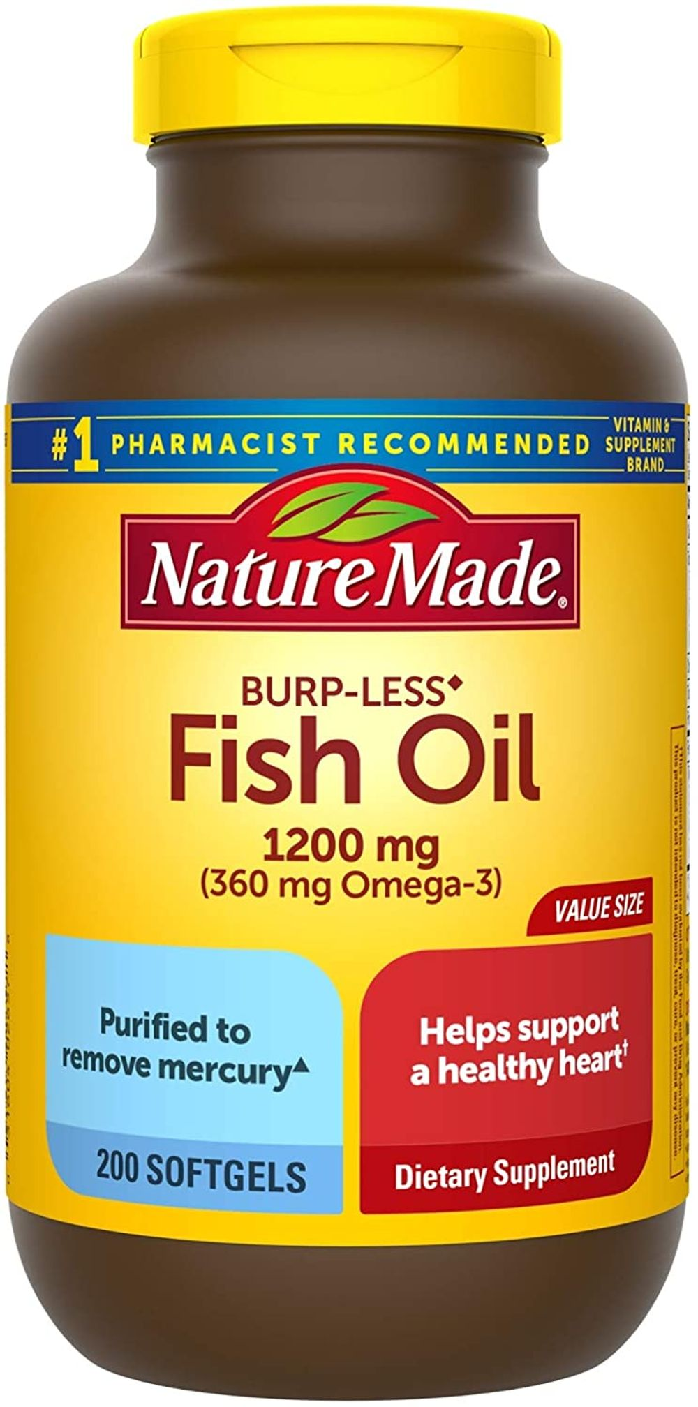 Nature Made Burp-Less Fish Oil 1200 mg Softgels, 200 Count for Heart Health† (Packaging May Vary)