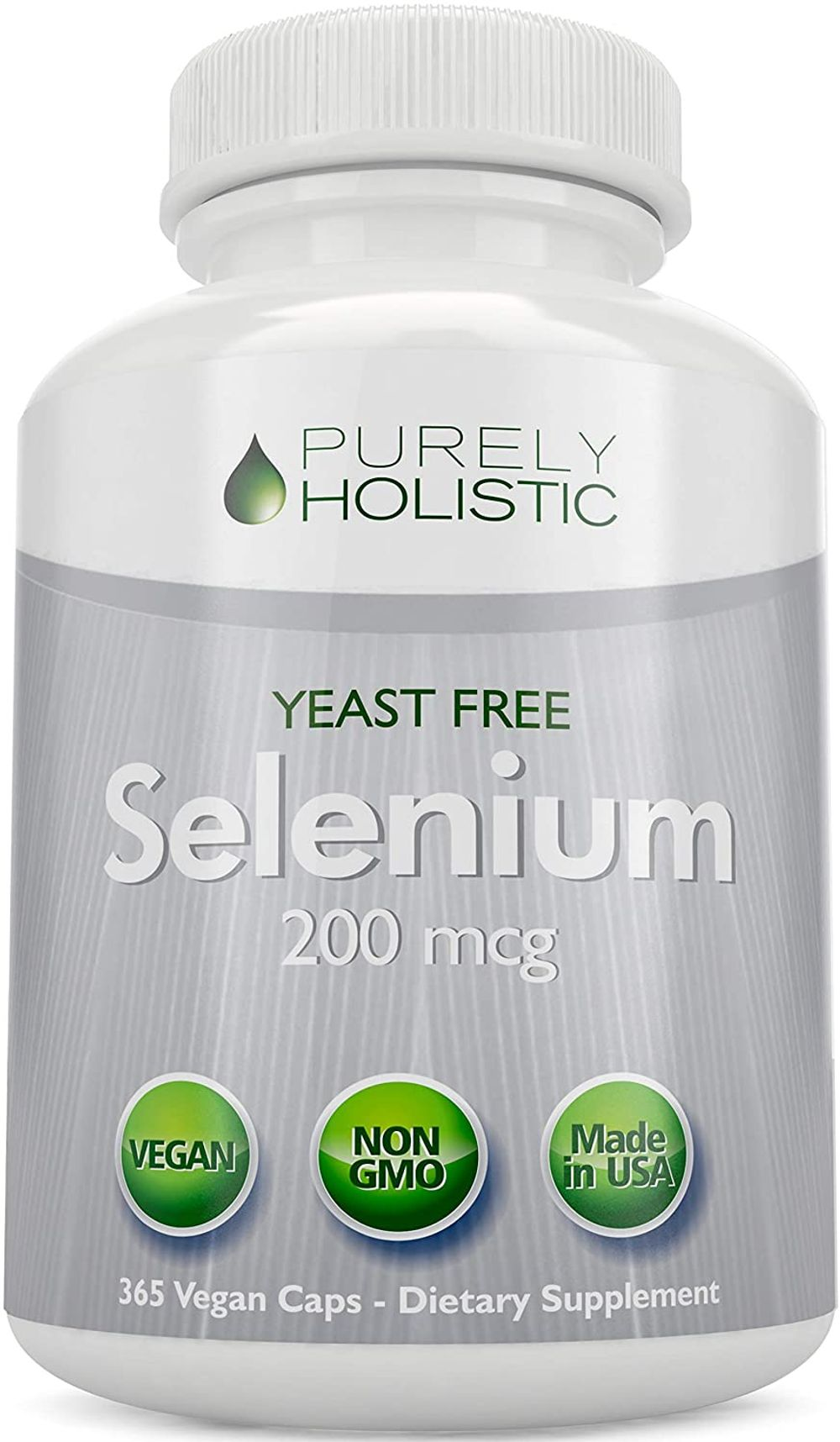 Selenium 200mcg - 365 Vegan Capsules not Tablets - Pure & Yeast Free L-Selenomethionine for Improved Absorption - Thyroid, Heart, and Immune System Support - Antioxidant Trace Mineral - Made in USA