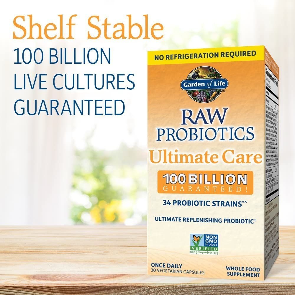 Probiotics For Women, Probiotics For Men And Adults: Raw Probiotics Ultimate Care 100 Billion CFU Shelf Stable Probiotic Supplement, Garden of Life Daily Probiotic, Digestive Enzymes, 30 Capsules