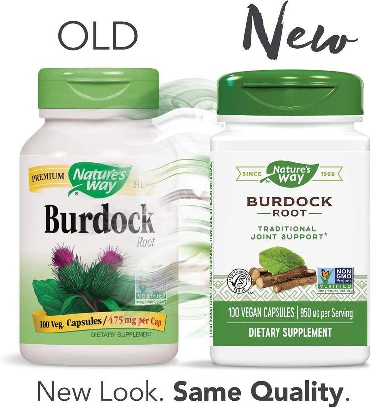 Nature's Way Burdock Root, 950 mg per serving, 100 Capsules (Packaging May Vary)