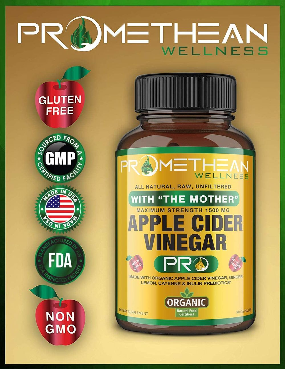 Certified Organic Apple Cider Vinegar Pro Capsules With
