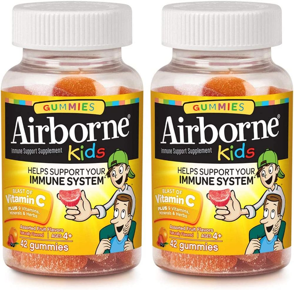 Airborne Vitamin C 500mg - Airborne Kids Assorted Fruit Flavored Gummies (21 count in a bottle), Gluten-Free Immune Support Supplement with Echinacea and Ginger, Packaging May Vary