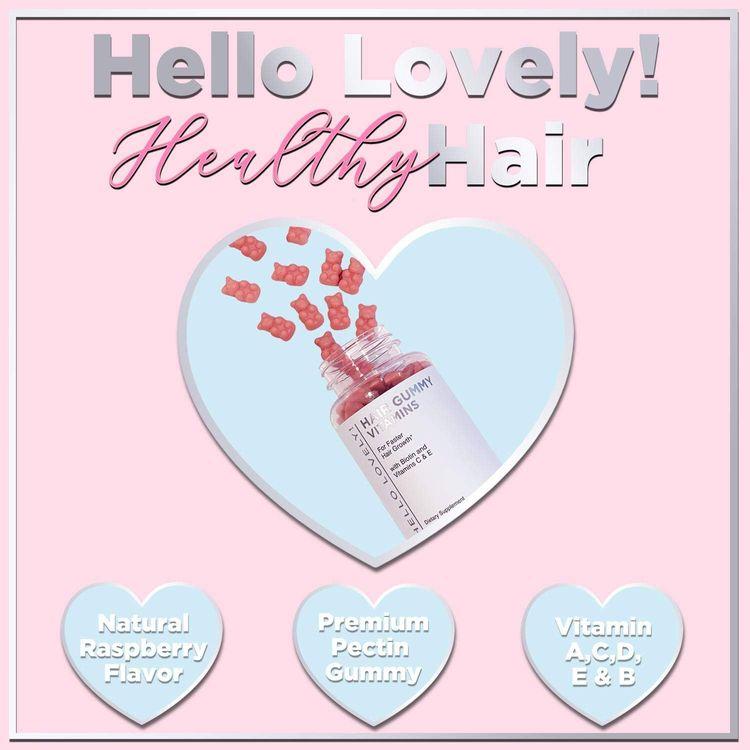 Angel Bear Hair Vitamins Gummies with Biotin 5000 mcg Vitamin C & E Support Hair Growth, Premium Vegetarian, Non-GMO, for Stronger, Beautiful Hair & Nails. Red Berry Supplement - 60 Gummies