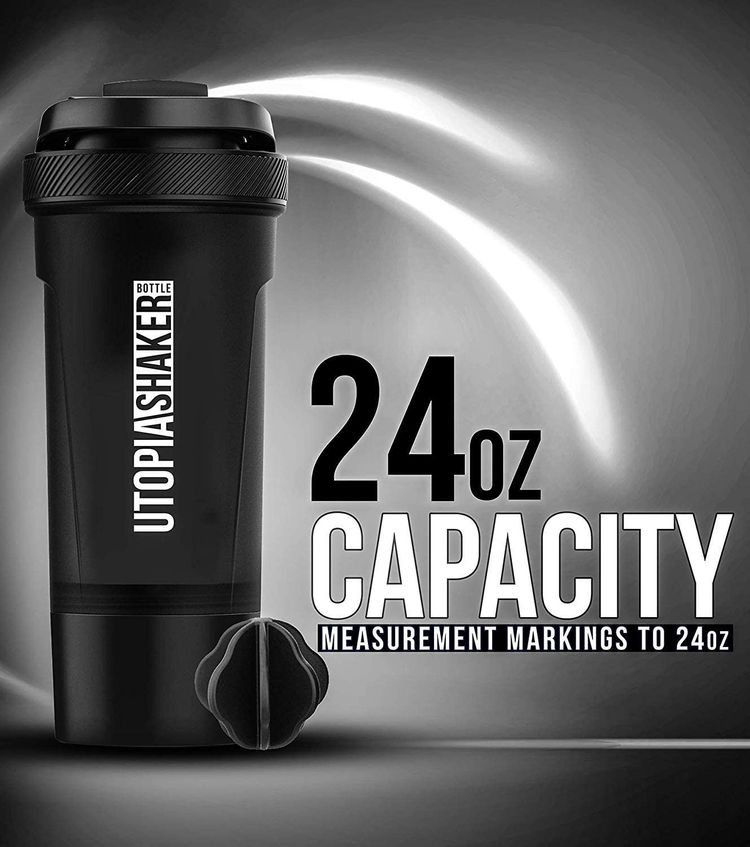 Utopia Home Pack of 2 - BPA Free & Leakproof - Fitness Sports Classic Protein Mixer Shaker Bottle with Twist and Lock Protein Box Storage (24-Oz)