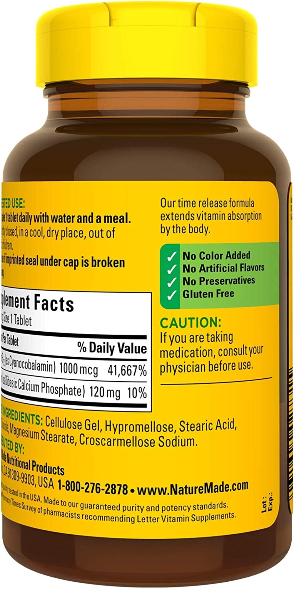 Nature Made Vitamin B12 1000 mcg Time Release Tablets, 160 Count Value Size (Packaging May Vary)