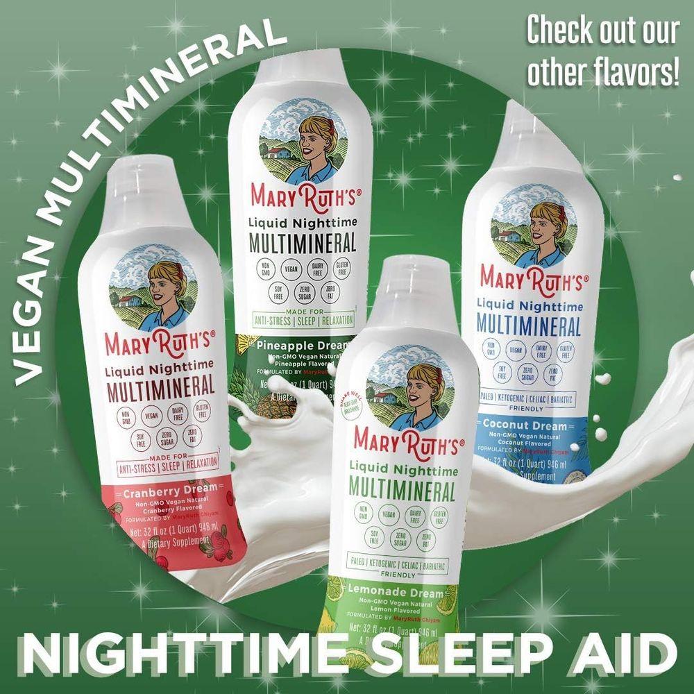 Liquid Sleep Multimineral w/Magnesium & Calcium Citrate by MaryRuth's - Pineapple - Vegan Vitamins, Antioxidants, Minerals, MSM - Natural Calm & Stress Aid - No Melatonin - Non-GMO - Sugar Free 32oz