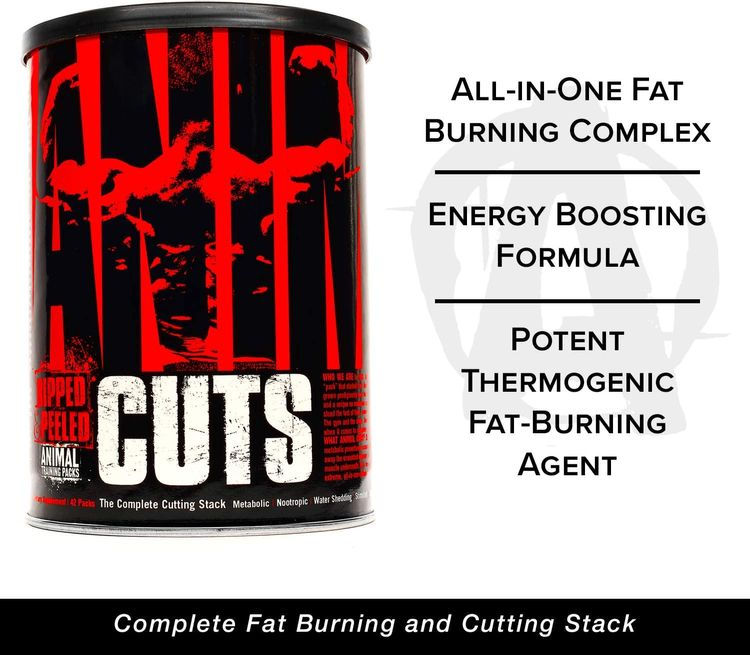 Animal Cuts – All-in-one Complete Fat Burner Supplement with Thermogenic and Metabolism Support - Energy Booster, Raspberry Ketones and Thyroid Complex – 42 Packs, Default, 42 cm