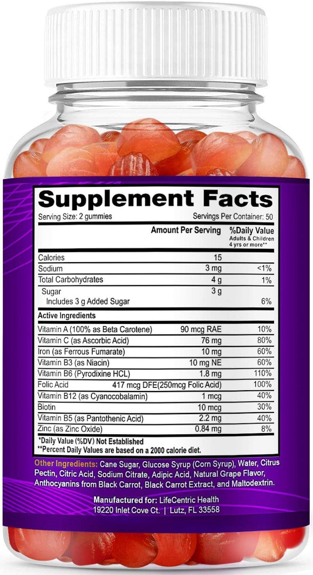 Iron Gummies for Adults and Kids   Biotin Zinc Vitamin B Folic Acid Vitamin Gummies   Vegan Gluten Free Blood Builder Anemia Supplements   Tasty Energy Boosting Iron Supplement for Women and Men