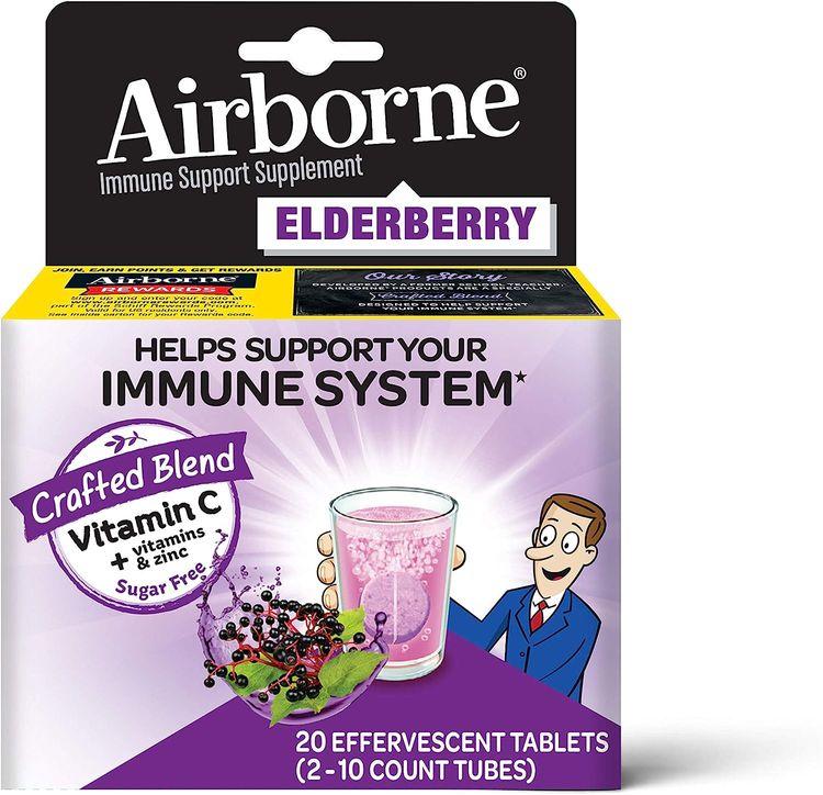 Elderberry Extract + Vitamin C - Airborne Effervescent Tablets (20 count in a box), Immune Support Supplement With Zinc & Vitamins C D E, Gluten Free, Sambucus, Antioxidant