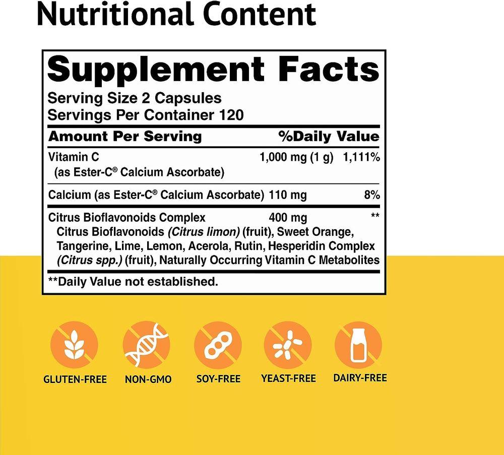 American Health Ester-C with Citrus Bioflavonoids Capsules - Gentle On Stomach, Non-Acidic Vitamin C - 240 Count (120 Servings)