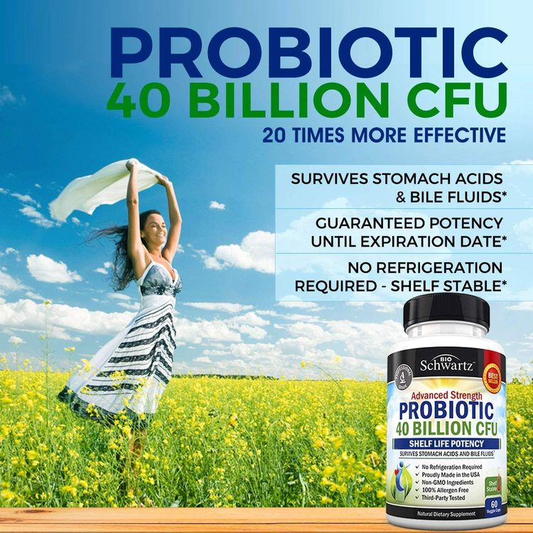 Probiotic 40 Billion CFU - Dr. Approved Probiotics for Women & Men - Guaranteed Potency Until Expiration - Patented Delay Release, Shelf Stable, Gluten & Dairy Free - Lactobacillus Acidophilus - 60ct