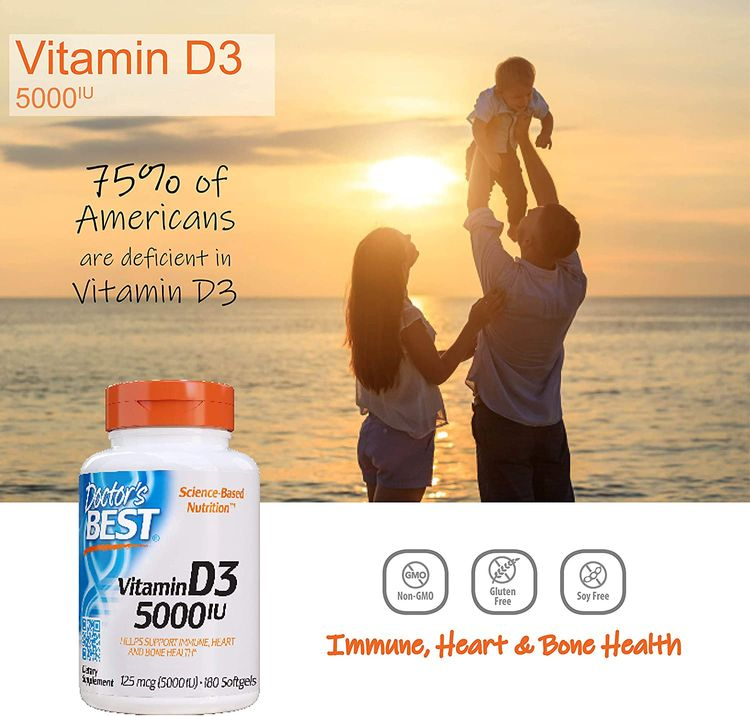 Doctor's Best Vitamin D3 5000IU, Non-GMO, Gluten Free, Soy Free, Regulates Immune Function, Supports Healthy Bones, 180 Count (Pack of 1)