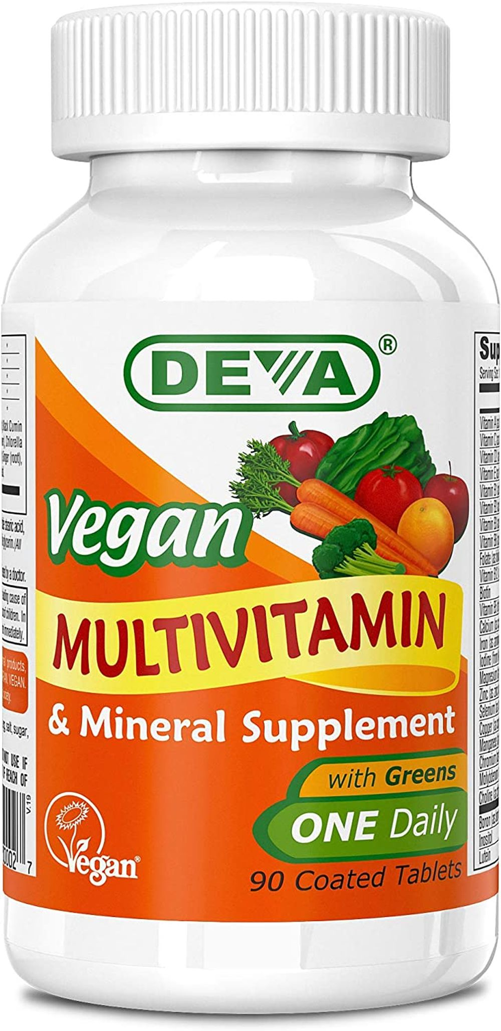 Deva Vegan Multivitamin & Mineral Supplement - Vegan Formula with Green Whole Foods, Veggies, and Herbs - High Potency - Manufactured in USA and 100% Vegan - 90 Count (Pack of 2)