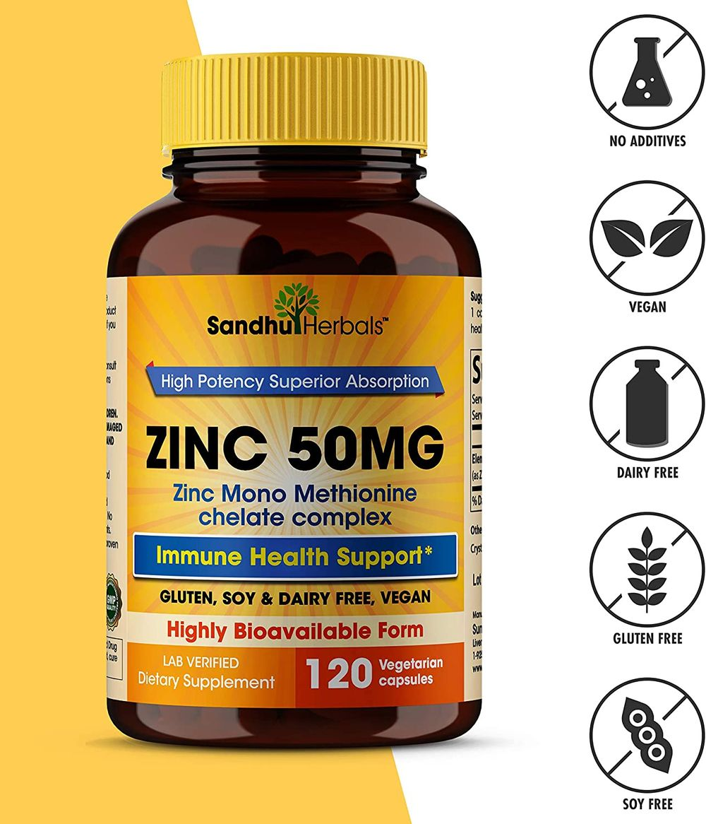 Zinc 50mg Supplement, Highly Absorbable Zinc Supplement for Immune Support System, Best Zinc Supplements - 120 Capsules – [4 Month Supply]
