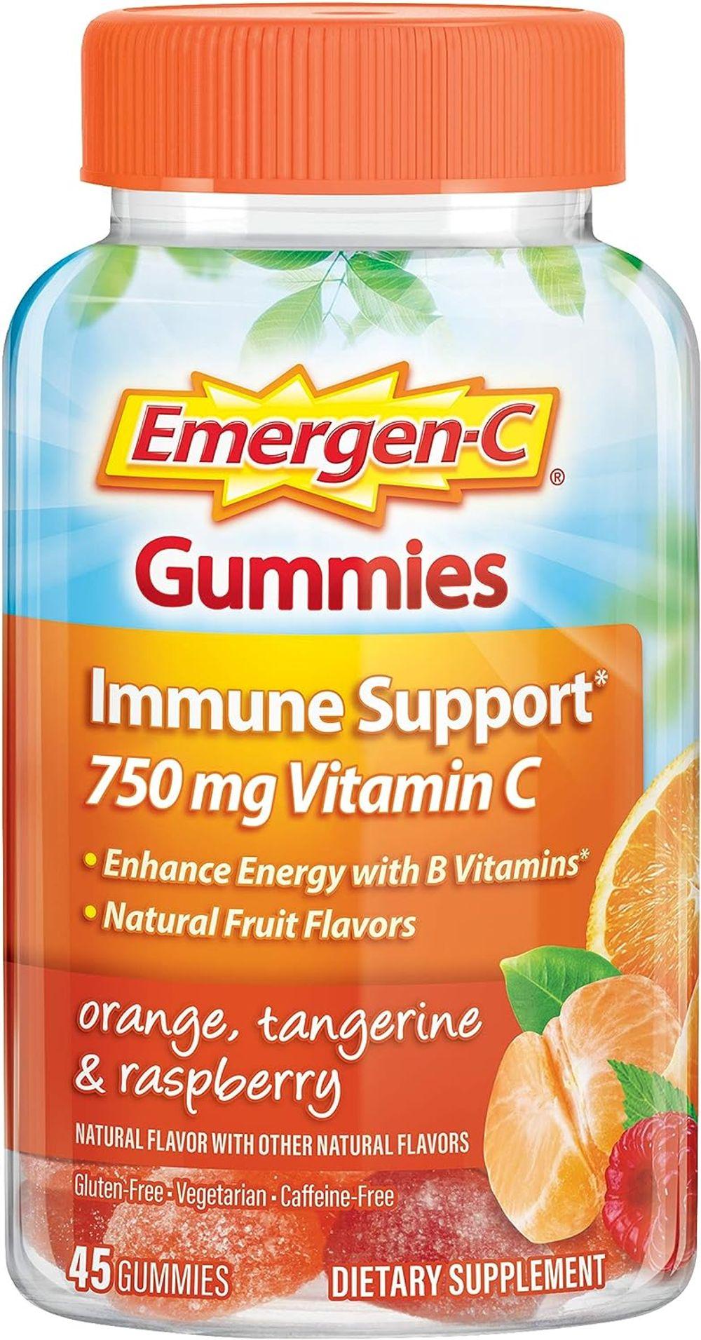 Emergen-C 750mg Vitamin C Gummies for Adults, Immunity Gummies with B Vitamins, Gluten Free, Orange, Tangerine and Raspberry Flavors - 45 Count