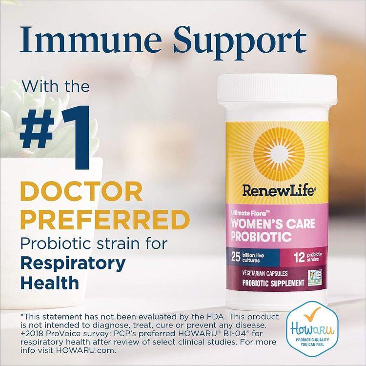 Renew Life #1 Women's Probiotics 25 Billion CFU Guaranteed, 10 Strains, Shelf Stable, Gluten Dairy & Soy Free, 30 Capsules, Ultimate Flora Women's Care - 60 Day Money Back Guarantee