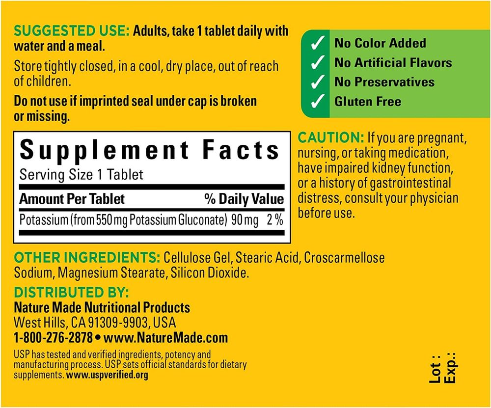 Nature Made Potassium Gluconate 550mg, 100 Tablets