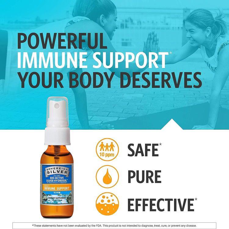 Sovereign Silver Bio-Active Silver Hydrosol for Immune Support - 10 ppm, 1oz (29mL) - Travel Size Fine Mist Spray