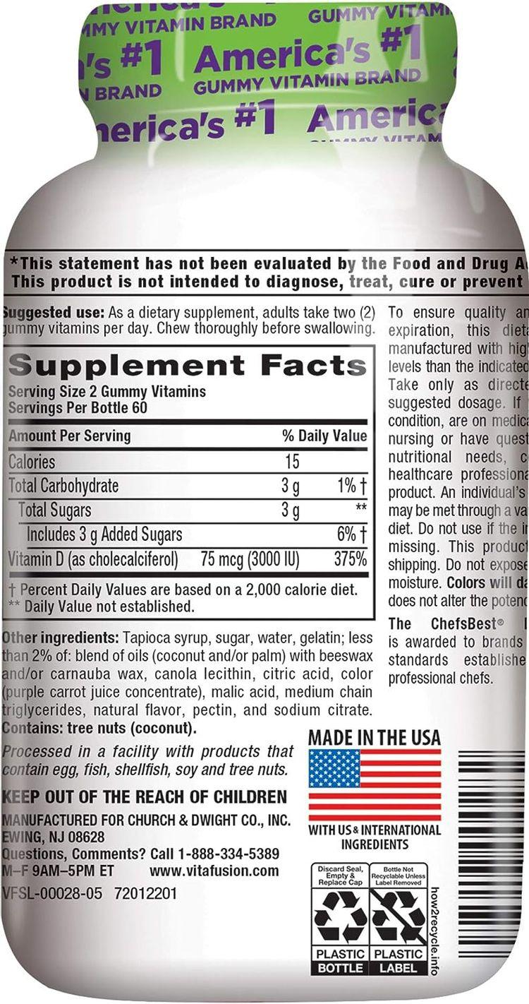 Vitafusion Extra Strength Vitamin D3 Gummies, 120 Count