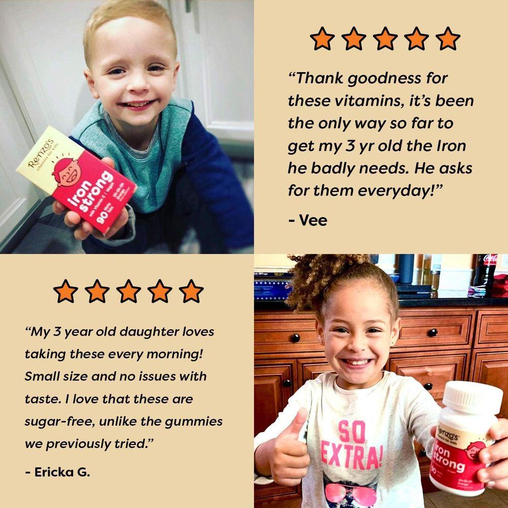 Renzo's Iron Strong, Dissolvable Vegan Vitamins for Kids, Zero Sugar, Oh-Oh-Oh Orange Flavor, 90 Melty Tabs