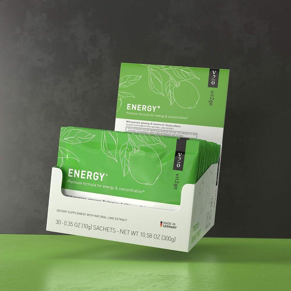 Vit2go Energy (30 Sachets) - Energy Drink Powder with Caffeine (124 mg) Guarana & Taurine
