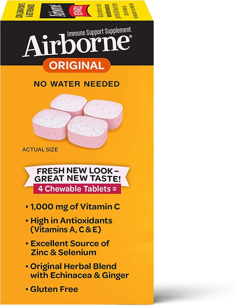 Vitamin C 1000mg (per serving) - Airborne Very Berry Chewable Tablets (96 count in a box), Gluten-Free Immune Support Supplement and High in Antioxidants