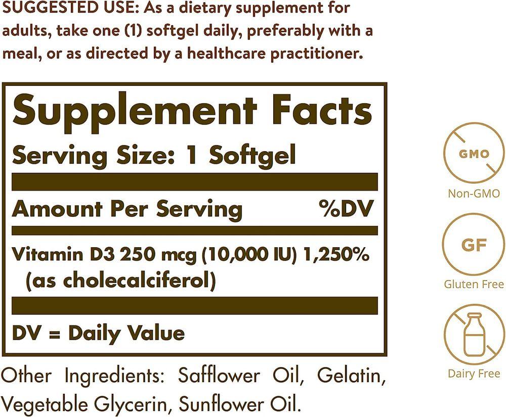 Solgar Vitamin D3 (Cholecalciferol) 250 MCG (10,000 IU), 120 Softgels - Helps Maintain Healthy Bones & Teeth - Immune System Support - Non GMO, Gluten Free, Dairy Free - 120 Servings