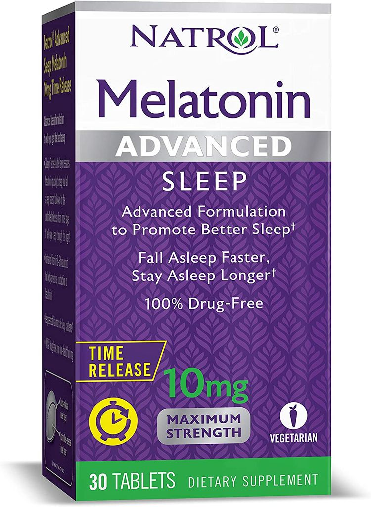 Natrol Melatonin Advanced Sleep Tablets with Vitamin B6, Helps You Fall Asleep Faster, Stay Asleep Longer, 2-Layer Controlled Release, 100% Drug-Free, Maximum Strength, 10mg, 30 Count