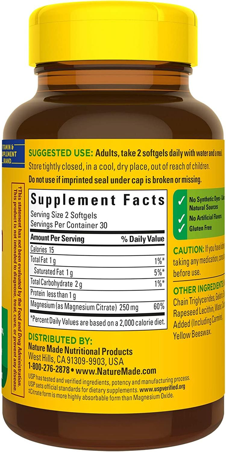Nature Made Magnesium Citrate 250mg per serving (250mg per Softgels), 60 Count for Nutrition Support† (Packaging May Vary)