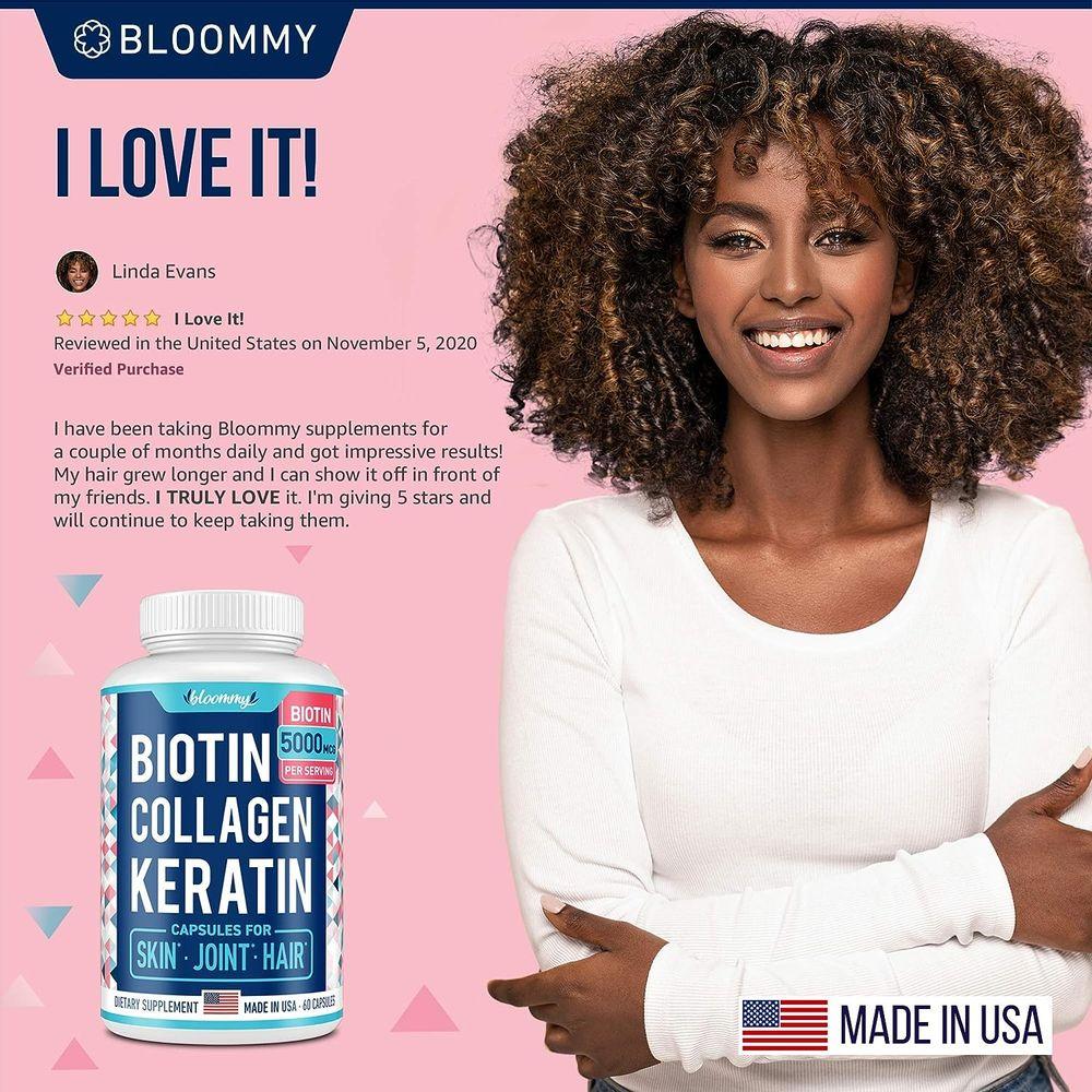 Biotin, Collagen & Keratin Capsules - Joints, Skin & Hair Natural Vitamins - Made in USA - Biotin & Collagen Supplements for Women - Marine Collagen Pills for Hair Care - Collagen Peptides Pills
