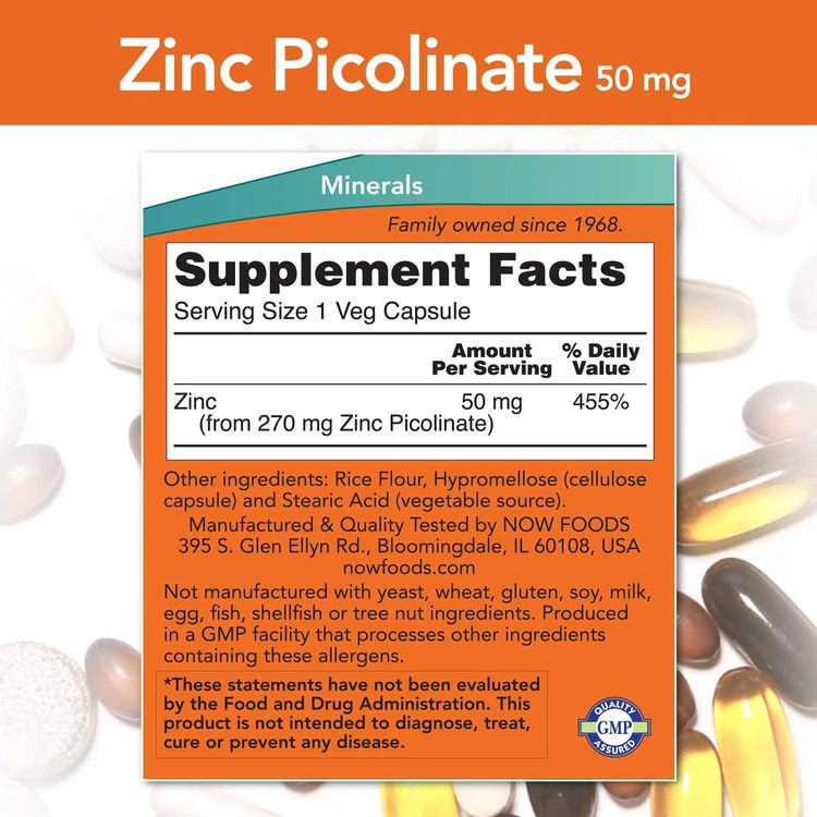 NOW Supplements, Zinc Picolinate 50 mg, Supports Enzyme Functions*, Immune Support*, 60 Veg Capsules