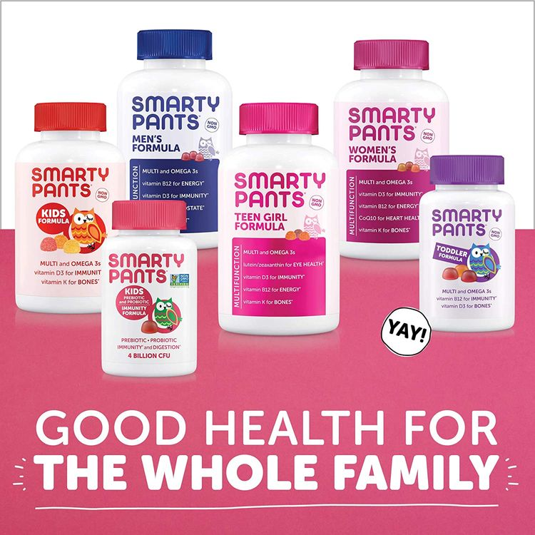 SmartyPants Teen Girl Complete Daily Gummy Vitamins: Multivitamin, Gluten Free, Lutein/Zeaxanthin for Eye Health*, Biotin, Vitamin K & D3, Omega 3 Fish Oil (DHA/EPA), 120 Count (22 Day Supply)